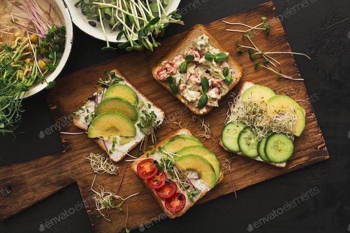 Разнообразие здоровых вегетарианских бутерброды