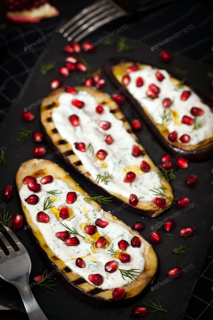 Grilled eggplants with pomegranate