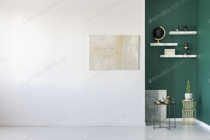 Empty room with teapot set