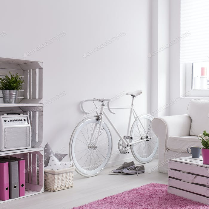 Modern deisgned lounge with hipster bike