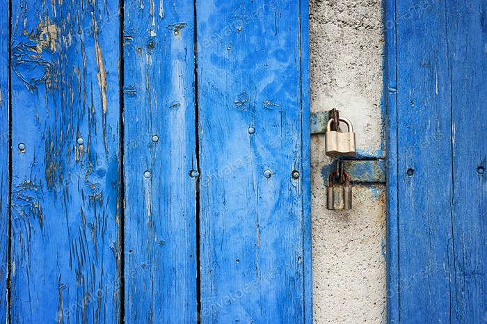 Old Rusty Blue Wooden Background