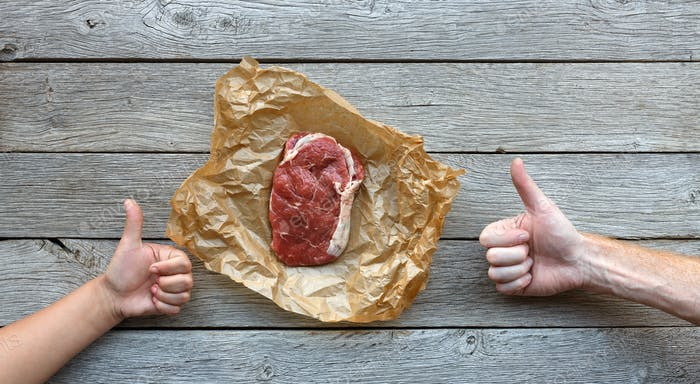Raw beef steak on dark wooden table background, top view
