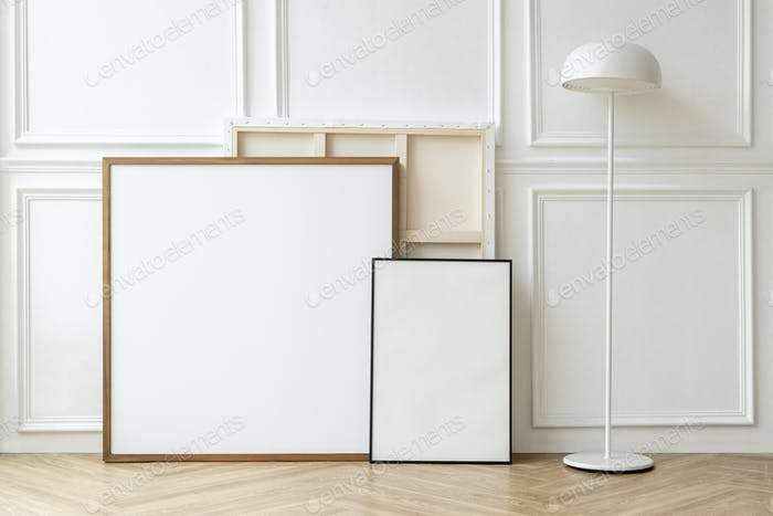 Picture frames against a wall