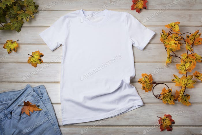 Placeit – Unisex T-shirt mockup with fall maple leaves