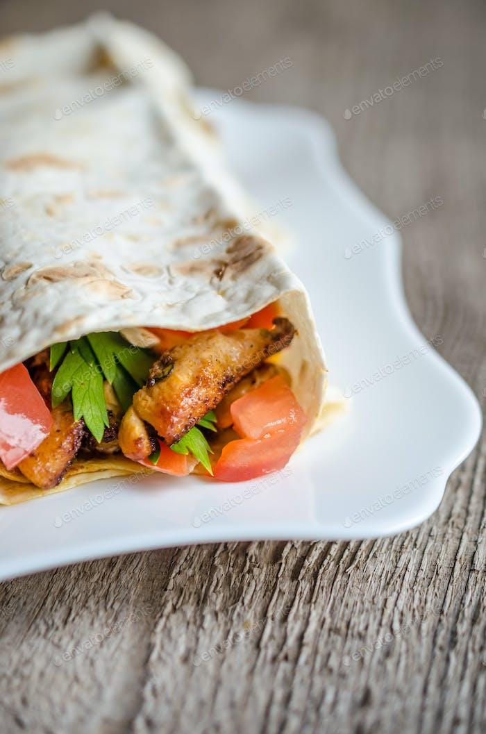 Tortilla or burritos closeup