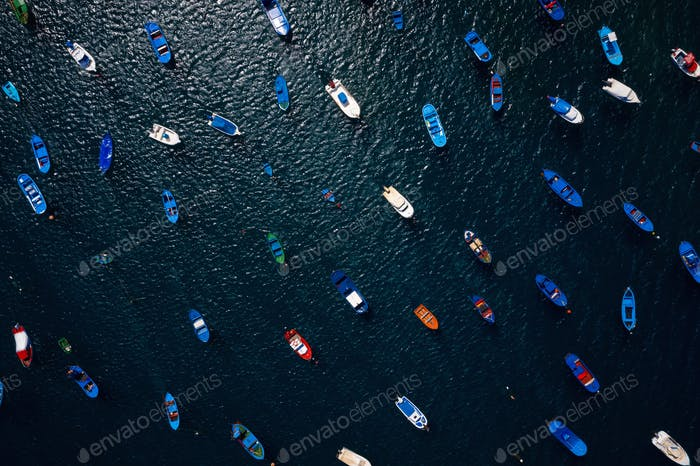 Aerial view of anchored boats off the coast. Las Teresitas, Tenerife, Canaries, Spain
