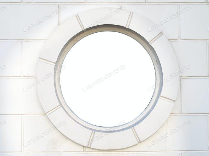 Altes weißes antikes rundes Fenster