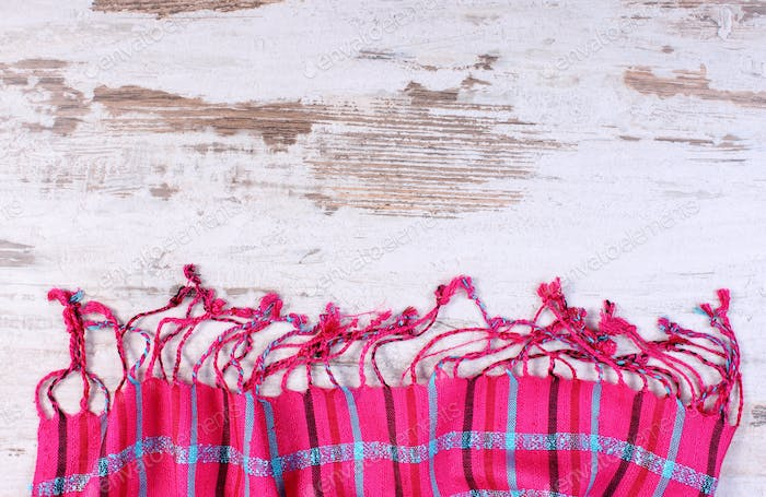 Colorful shawl with copy space for text