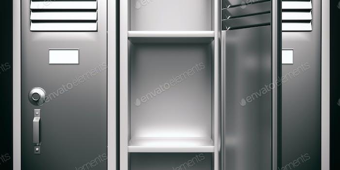 School, gym locker, grey color, empty with open door. 3d illustration