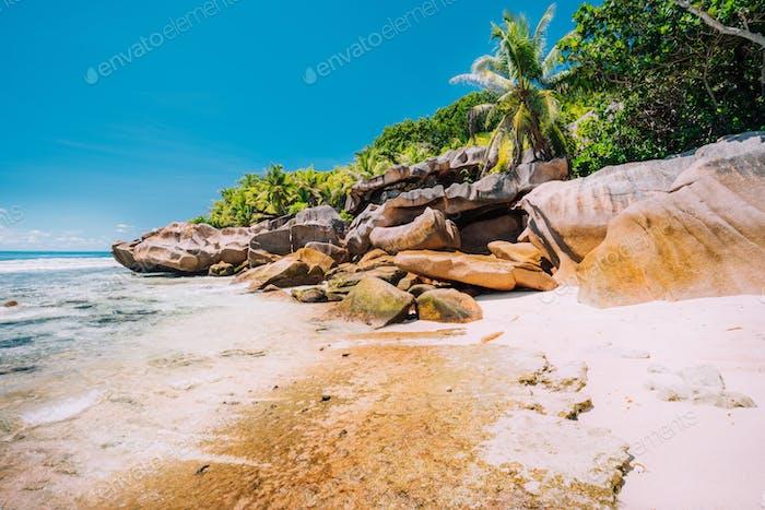 Anse Cocos beach in La Digue Island, Seyshelles