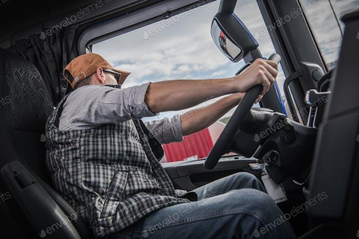 Trucker Behind the Wheel