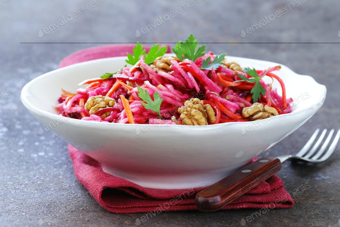 Salad With Carrots, Beetroot, Apple