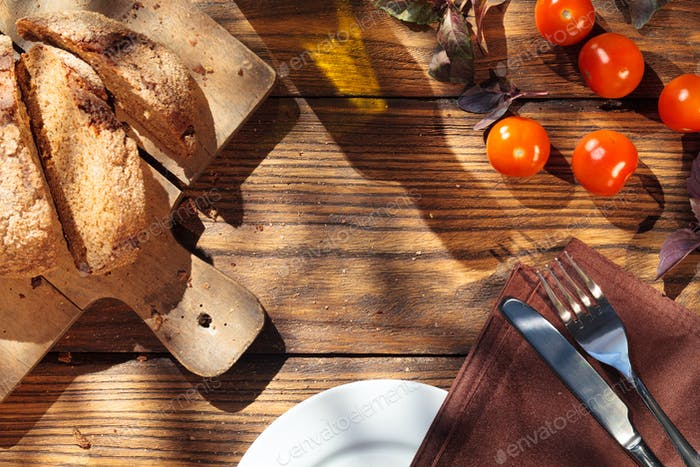 Top view of italian food on wooden table