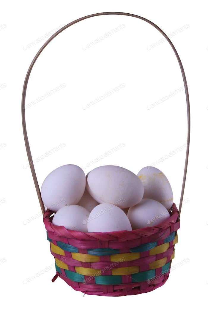 Eggs in a colored straw basket isolated