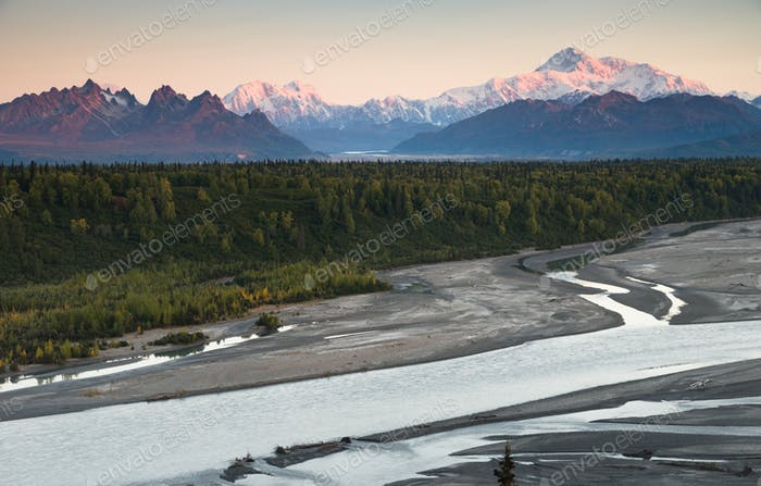 Denali Mountain Range Mt McKinley Alaska North America