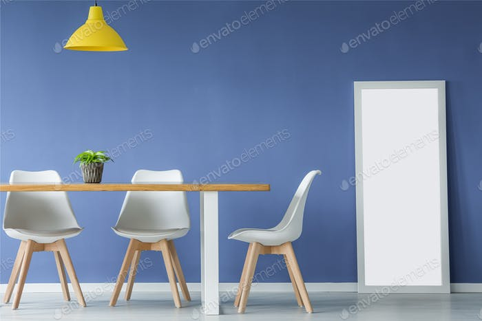 Open space with white chairs