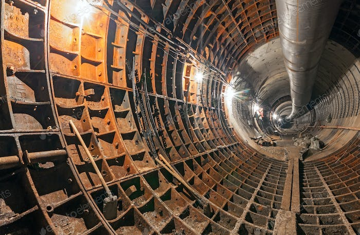 Construction of the underground metro tunnel