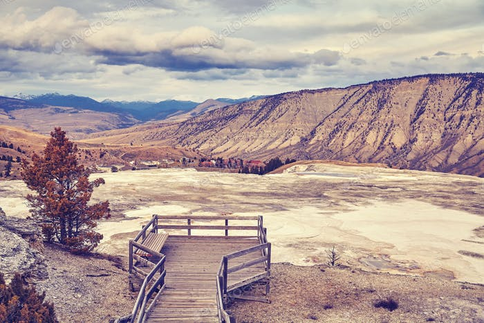 Color toned hot springs in Yellowstone National Park.