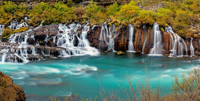 Panorama of the Hraunfossar falls