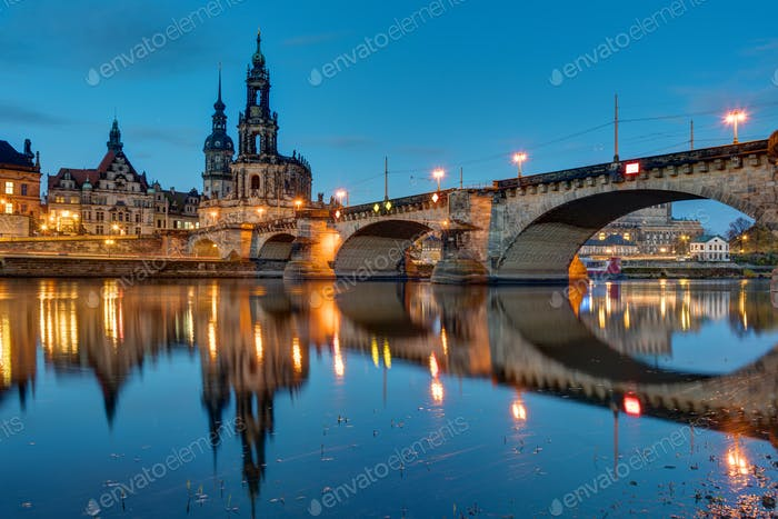 Hofkirche and bridge in Dresden at dawn