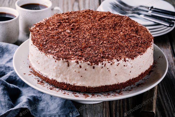 No-bake chocolate cheesecake on a plate