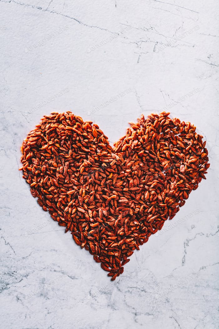 Valentine heart made of goji berries. Superfood.