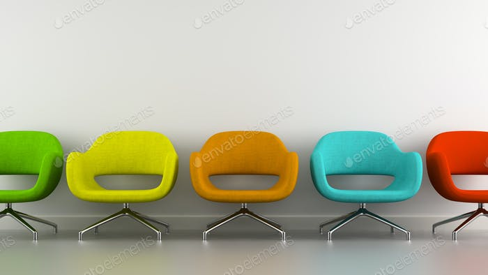 Part of interior with multicolored modern armchairs 3d rendering