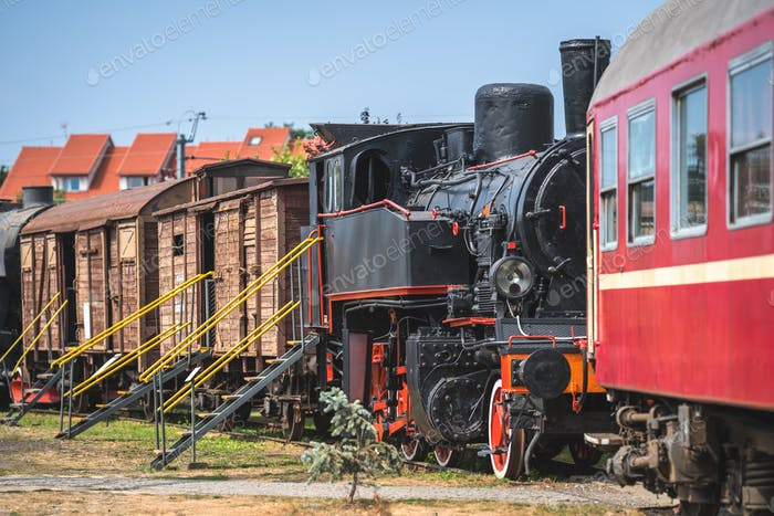 Old locomotives and carriages