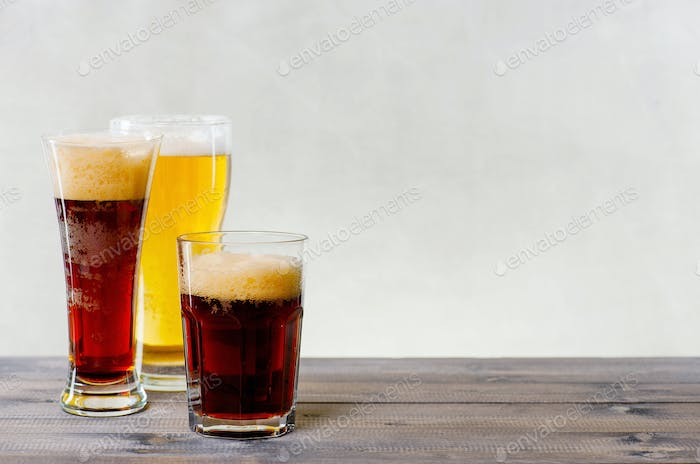 Background with Glasses of Various Beer