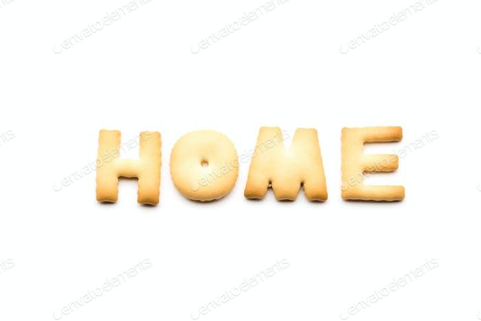 Word Home Cookie isoliert auf weißem Hintergrund