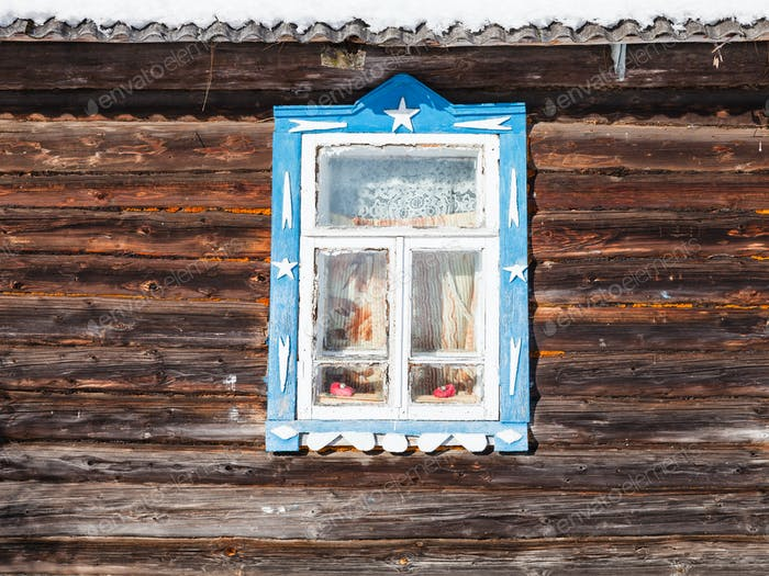 wall with window of old russian rural house