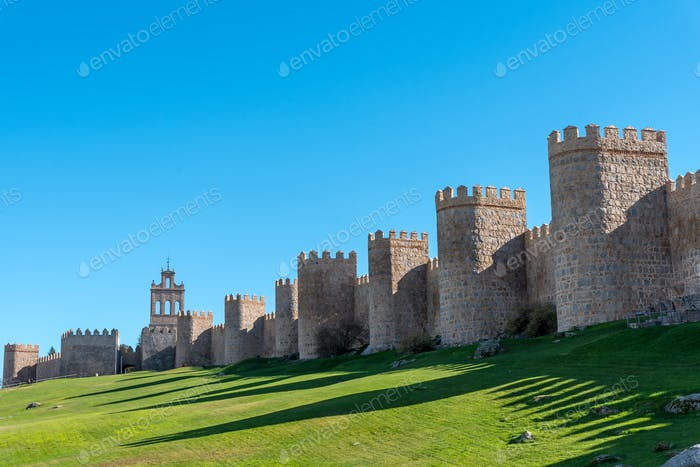 The old medieval city wall of Avila