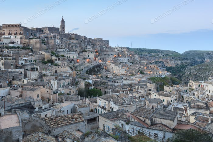 Sassi of Matera at night.