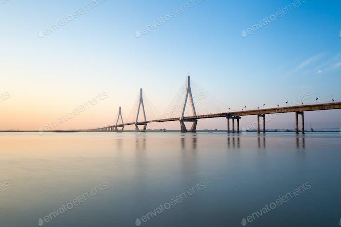 dongting lake bridge at dusk