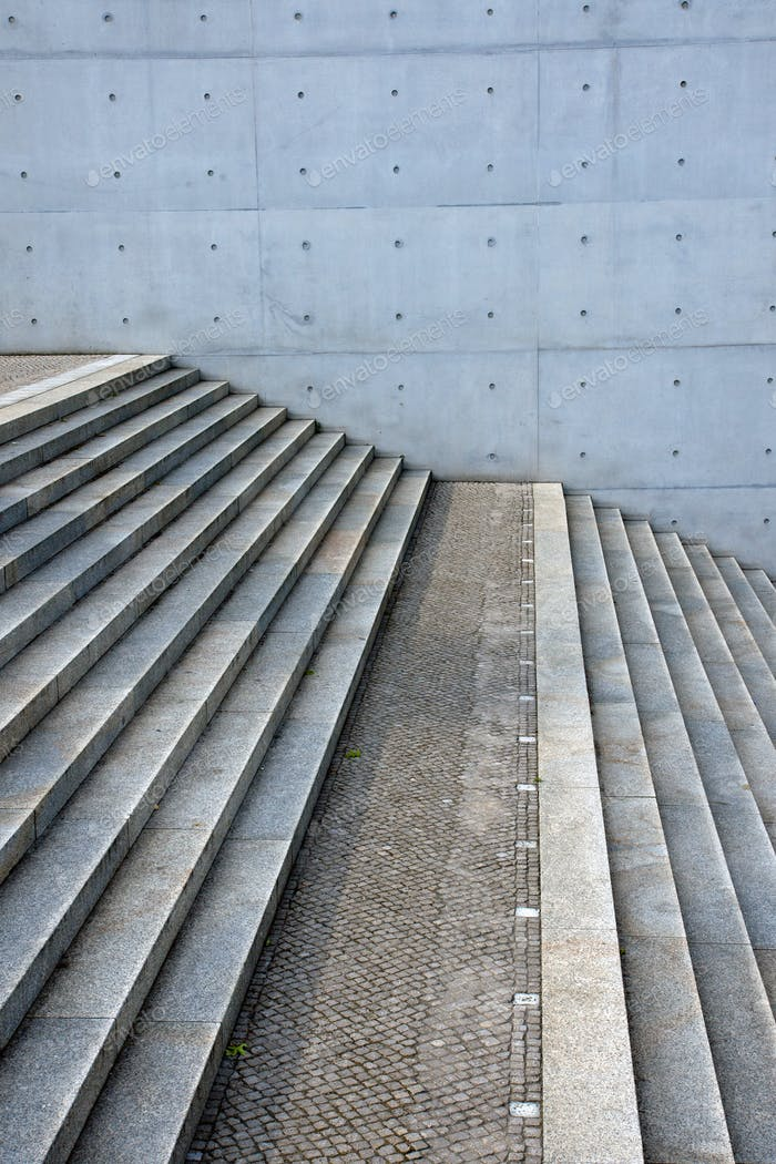 Concrete stairs and concrete wall