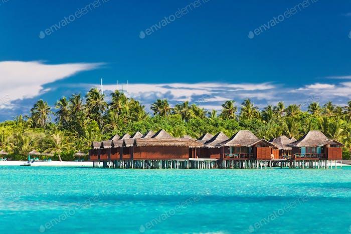 Überwasserpfäckchen in Lagune auf tropischer Insel mit Kokosnuss