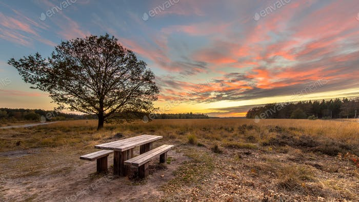 Picnic table under beautiful sunset