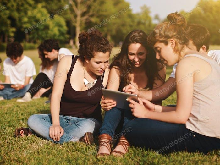 gran grupo de amigos disfrutando de un día de verano en el parque, de vuelta a la escuela