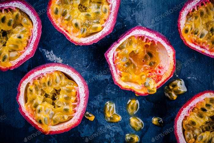 ripe organic passion fruit. above view