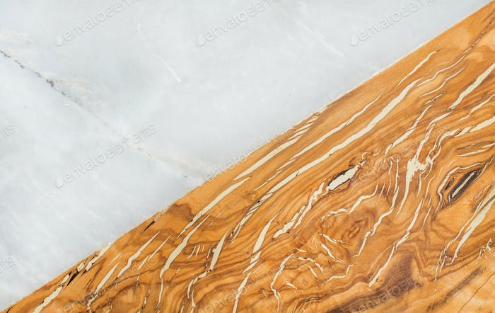 Grey marble stone and olive wood combined background