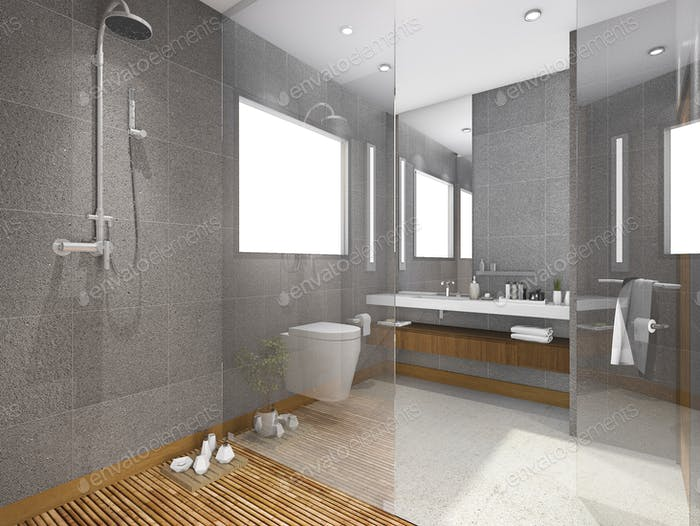 3d rendering tropical style bathroom with stone tile