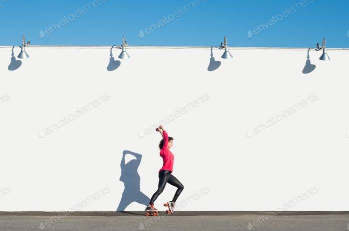 Woman rollerblading