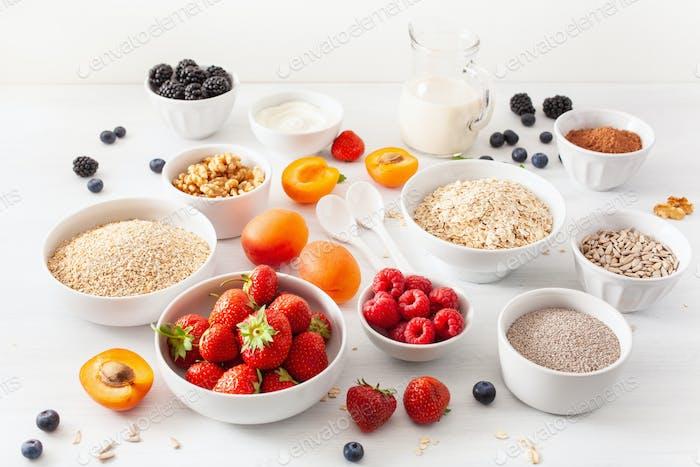 cereals, fruits
