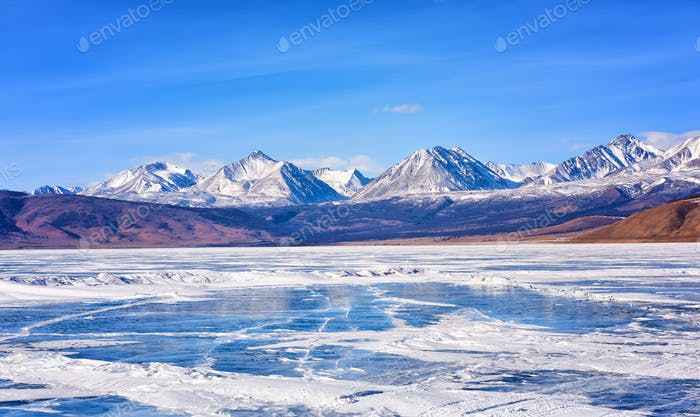 Sayan Mountains from Hovsgol Lake . Mongolia