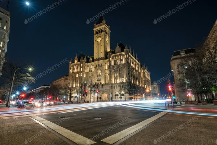 Old post office Washington DC with traffic light at night, United States, USA downtown