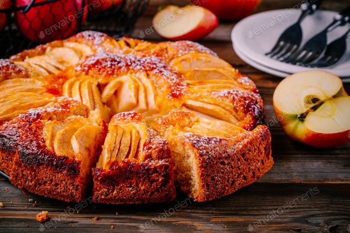 Traditional homemade apple cake