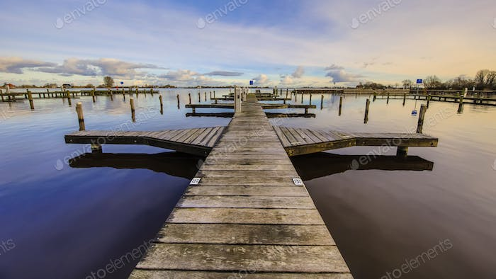 Empty wooden recreational jetty