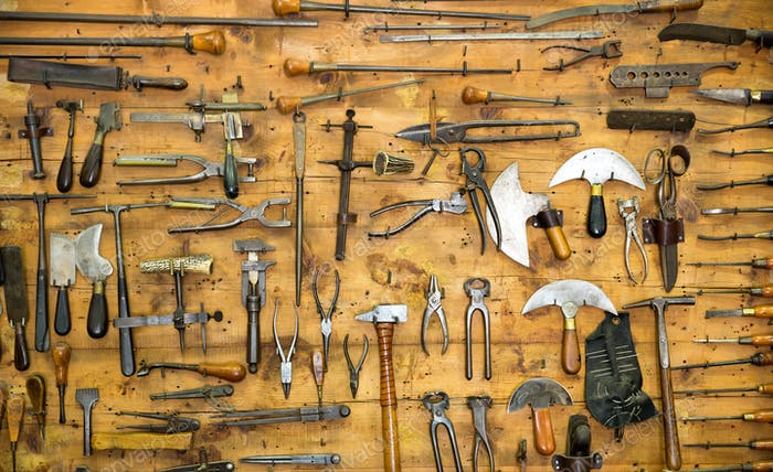 Old tools on the wall
