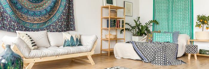 Bedroom with ethnic accessories
