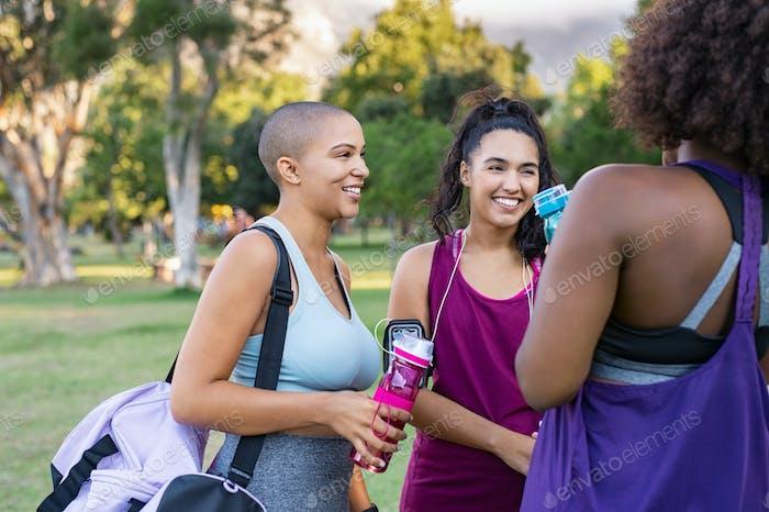 Friends women talking after workout